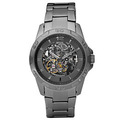Relic® Mens Gunmetal Automatic Skeleton Watch ZR11853