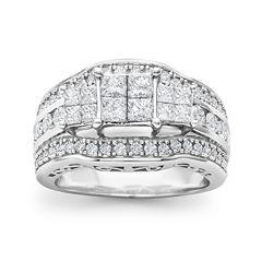 2 CT. T.W. Princess Diamond 3-Stone Engagement Ring