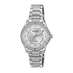 Drive from Citizen® Eco-Drive Womens Crystal-Accent Stainless Steel Bracelet Watch FE6060-51A