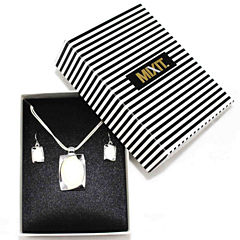 Mixit™ White Mother-of-Pearl Silver-Tone Earring and Necklace Set