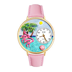 Whimsical Watches Personalized Flamingo Womens Gold-Tone Bezel Pink Leather Strap Watch