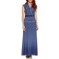 Blue Sage Sleeveless Evening Gown
