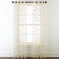 Royal Velvet® Plaza Embroidered Sheer Grommet-Top Curtain Panel