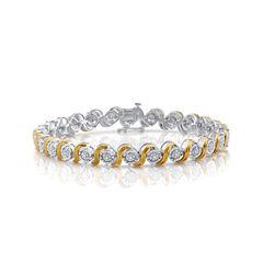 Womens 7.5 Inch 1/10 CT. T.W. Diamond 14K Yellow Gold Over Silver Link Bracelet
