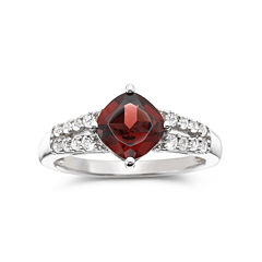 Genuine Garnet & Lab-Created White Sapphire Ring in Sterling Silver