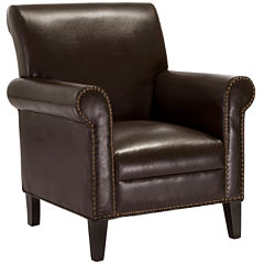 Rae Studded Bonded Leather Club Chair