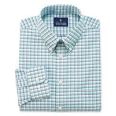 Stafford Travel Wrinkle-Free Oxford Long Sleeve Woven Grid Dress Shirt