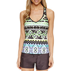 Zeroxposur Geometric Tankini Swimsuit Top
