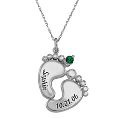 Personalized Sterling Silver Name, Date & Birthstone Footprints Pendant Necklace