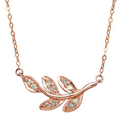 1/10 CT. T.W. Diamond 10K Rose Gold Leaf Necklace