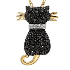 1/5 CT. T.W. White and Color-Enhanced Black Diamond Cat Pendant Necklace