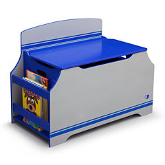 Jack & Jill Deluxe Toy Box with Book Rack - Blue and Gray