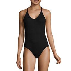 Flirtitude Sleeveless V Neck Jersey Bodysuit-Juniors