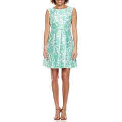 Danny & Nicole Sleeveless Floral Fit & Flare Dress-Petites