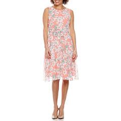 R & K Originals Sleeveless Floral A-Line Dress-Petites