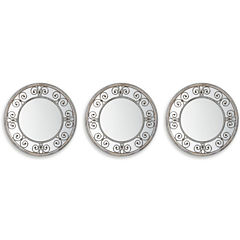 Set of 3 Silver Swirl Mirrors