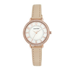 Armitron® Womens Mother-of-Pearl Rose-Tone Pink Leather Strap Watch