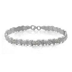 Crystal Sterling Silver Heart Stampato Bracelet