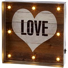 Love Heart LED Galvanized Framed Wall Art