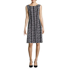 Connected Apparel Sleeveless Geometric Fit & Flare Dress