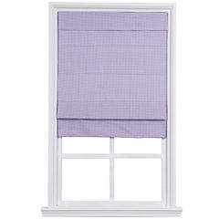 Custom Cordless Large-Fold Gingham Lined Roman Shade