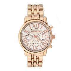 Geneva Womens Rose-Tone Boyfriend Bracelet Watch