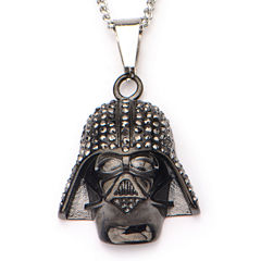 Star Wars® Black IP Stainless Steel Darth Vader Pendant Necklace