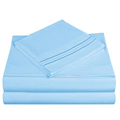 Cathay Home 3-Line Embroidered Microfiber Sheet Set