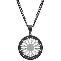 Mens Stainless Steel Wheel Pendant Necklace