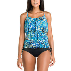 Jamaica Bay® Muted Reptile Triple-Tier Ruffle Tankini Swim Top