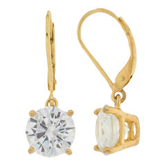 Cubic Zirconia Leverback Earrings 14K Gold Over Sterling Silver