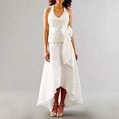 Blu Sage Sleeveless Embroidered Halter Wedding Gown