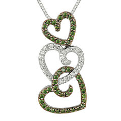 1/2 CT. T.W. White and Color-Enhanced Green Diamond Triple Heart Pendant Necklace