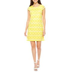 R & K Originals Short Sleeve Lace Floral Shift Dress