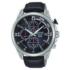 Pulsar Mens Black Strap Watch-Pz6023