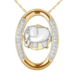 Love in Motion Diamond Accent 18K Gold Over Silver Elephant Pendant Necklace