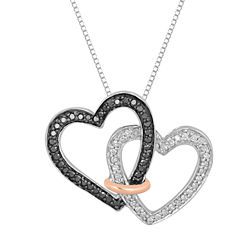 1/3 CT. T.W. White and Color-Enhanced Black Diamond Linked Heart Necklace