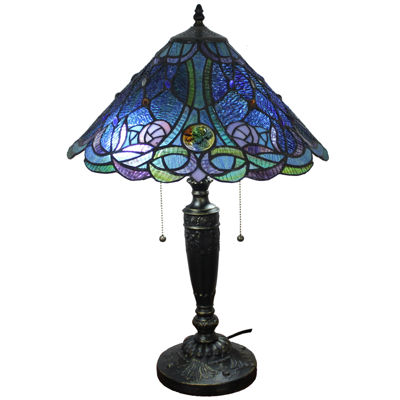 Charming Amora Lighting AM1102TL16 Tiffany Style Blue TableLamp 24 Inches Tall