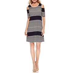 Ronni Nicole Cold Shoulder Elbow Sleeve Shift Dress
