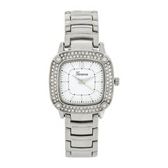 Geneva Womens Square-Face Silver-Tone Bracelet Watch