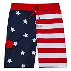 Arizona Boys American Flag Swim Trunks-Preschool