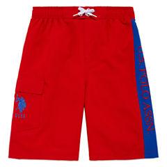 U.S. Polo Assn. Boys Solid Swim Trunks-Big Kid