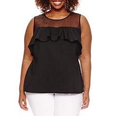 Worthington® Sleeveless Sheer Yoke Fashion Shirting - Plus