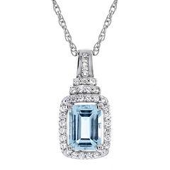 Genuine Aquamarine & Lab-Created White Sapphire Pendant