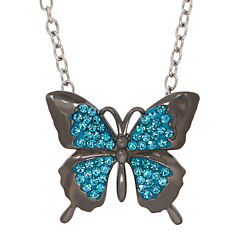 Animal Planet™ Australia Butterfly Crystal Sterling Silver Pendant Necklace