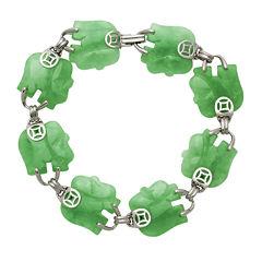 Elephant-Shaped Genuine Jade Sterling Silver Bracelet