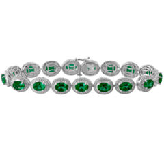 Womens Diamond Accent Green Emerald Sterling Silver Tennis Bracelet