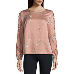 Liz Claiborne Long Sleeve Crew Neck Woven Leaf Blouse