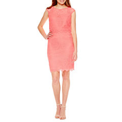 Signature by Sangria Short Sleeve Lace Sheath Dress