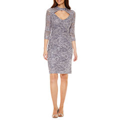 Blu Sage 3/4 Sleeve Sequin Sheath Dress